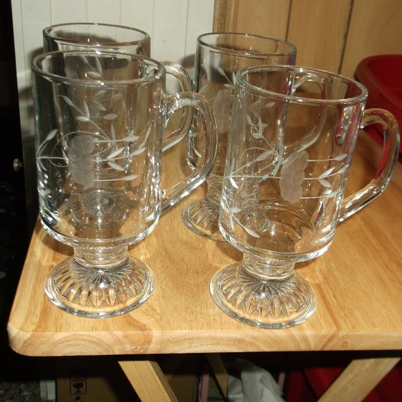 crystal clear  etched glass mugs. set of 4